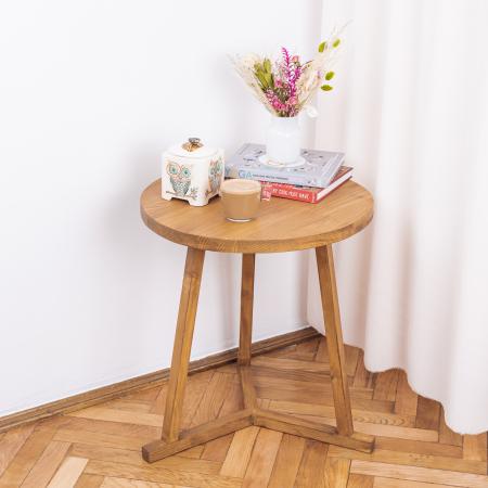 Măsuță de cafea rotundă, lemn masiv de brad [0]