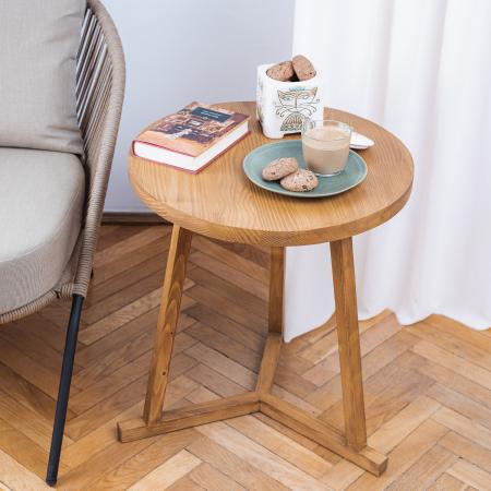 Măsuță de cafea rotundă, lemn masiv de brad [1]