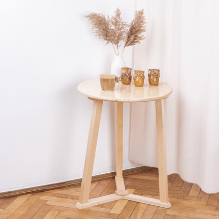 Măsuță de cafea rotundă, lemn masiv de pin [0]