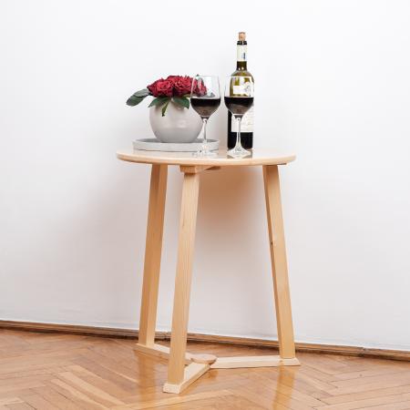 Măsuță de cafea rotundă, lemn masiv de pin [5]