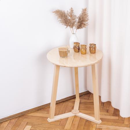 Măsuță de cafea rotundă, lemn masiv de pin [1]