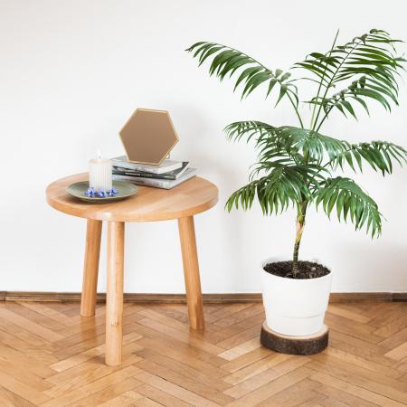 Măsuță de cafea cu blat rotund, lemn masiv de fag [2]