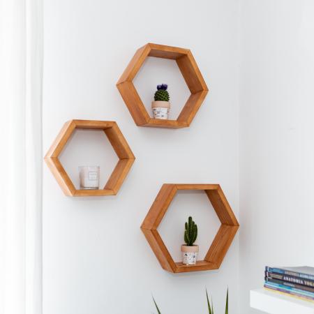 Set rafturi hexagonale pentru perete, lemn masiv [1]