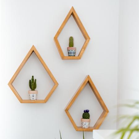 Set rafturi pentagonale pentru perete, lemn masiv [2]