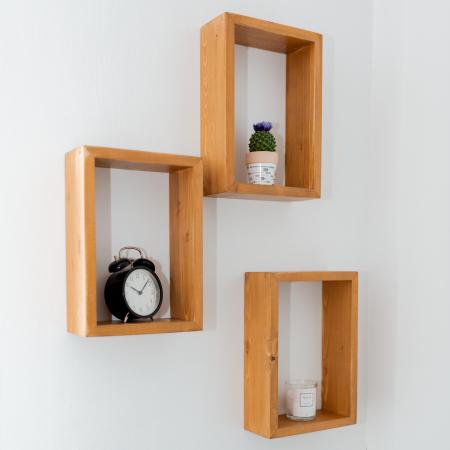 Set rafturi dreptunghiulare de perete, lemn masiv [2]