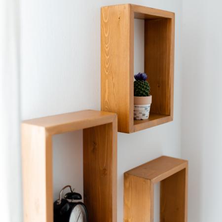Set rafturi dreptunghiulare de perete, lemn masiv [3]