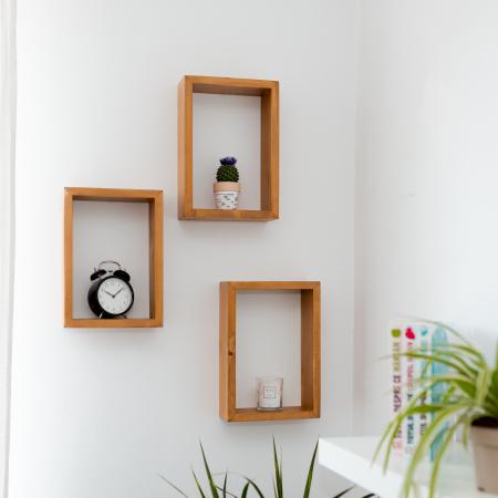 Set rafturi dreptunghiulare de perete, lemn masiv [0]