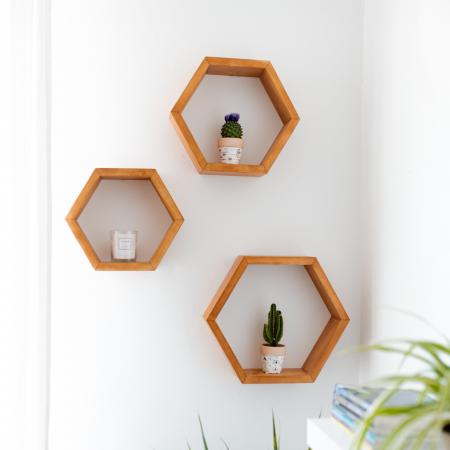 Set rafturi hexagonale pentru perete, lemn masiv [0]