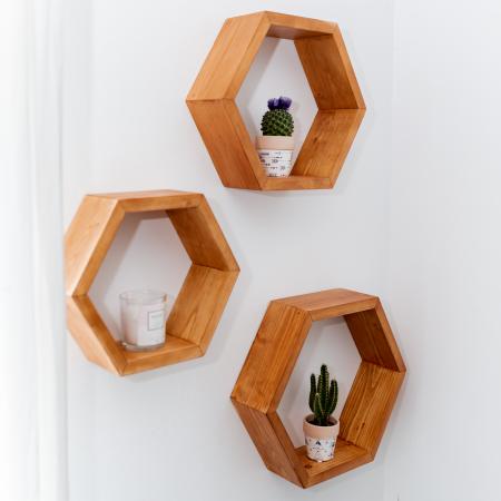 Set rafturi hexagonale pentru perete, lemn masiv [4]