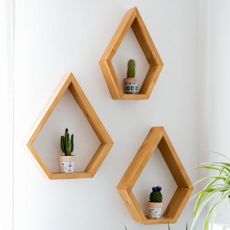 Set rafturi pentagonale pentru perete, lemn masiv [0]
