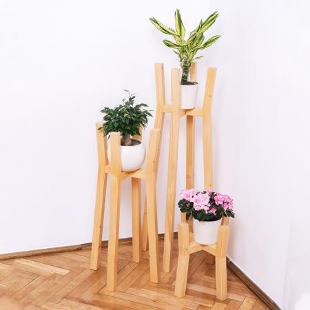 Set suporturi pentru flori din lemn masiv, tip stâlpi [3]