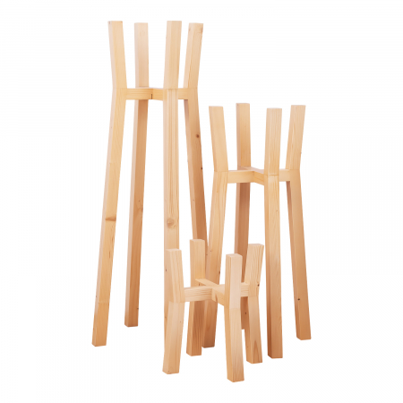 Set suporturi pentru flori din lemn masiv, tip stâlpi [6]
