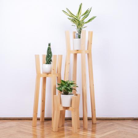 Set suporturi pentru flori din lemn masiv, tip stâlpi [0]