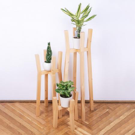 Set suporturi pentru flori din lemn masiv, tip stâlpi [1]