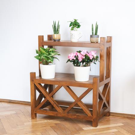 Suport supraetajat pentru flori, lemn masiv [1]