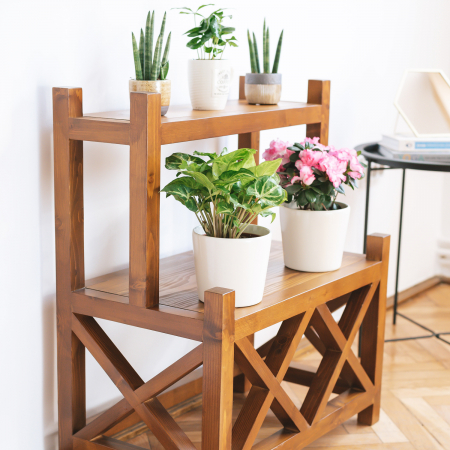Suport supraetajat pentru flori, lemn masiv [3]
