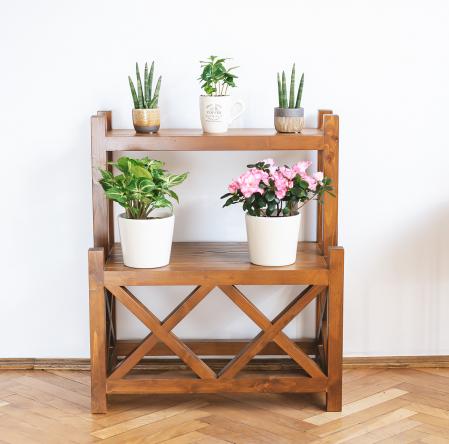 Suport supraetajat pentru flori, lemn masiv [0]