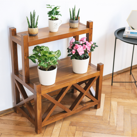 Suport supraetajat pentru flori, lemn masiv [2]