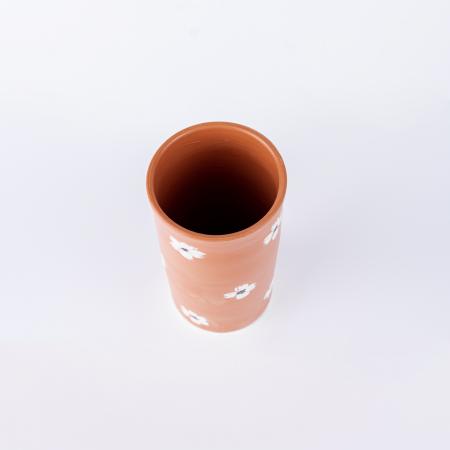 Vază lut pictată manual, motive florale [3]