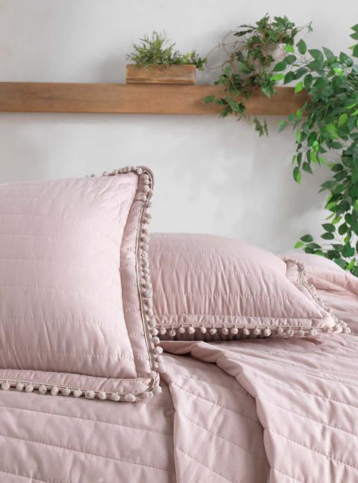 Cuvertură pat Clasy-matlasată PEDRA V3 roz pudra [1]
