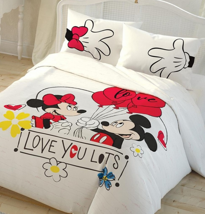 Lenjerie de pat, două persoane, bumbac 100%, TAC, Disney Minnie Mickey Love you lots [0]