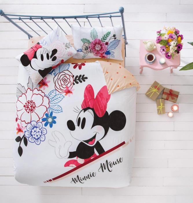 Lenjerie de pat, două persoane, bumbac 100%, TAC, Disney Minnie WaterColour [0]