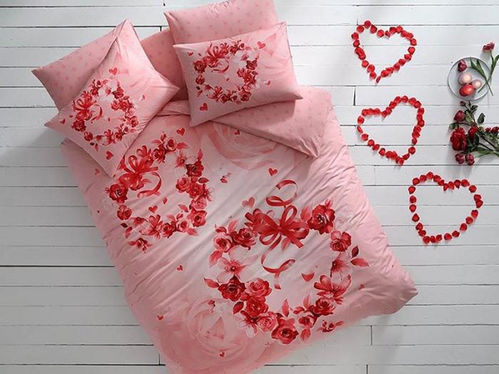 Lenjerie de pat dublu fluorescentă, bumbac 100% ranforce, TAC, Roses [0]