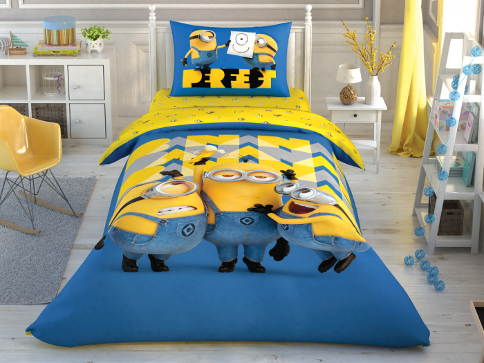 Lenjerie de pat, o persoana, bumbac 100%, TAC, Minions Perfect [0]