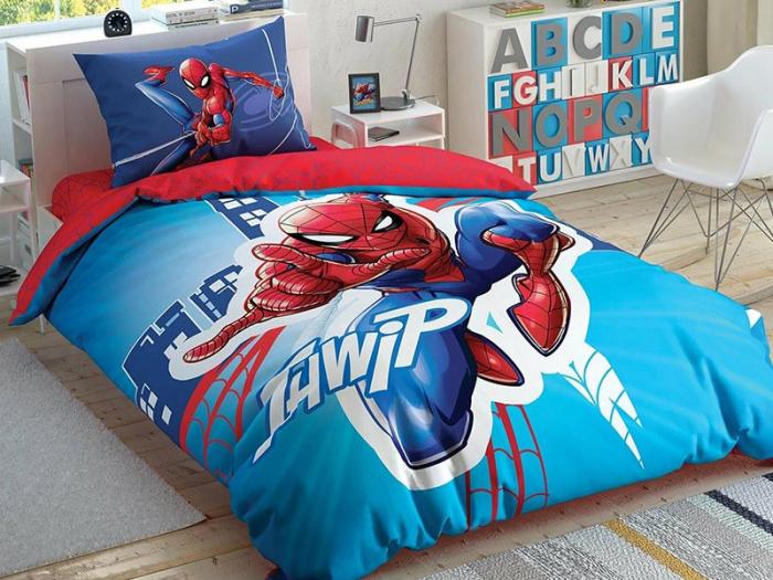 Lenjerie de pat, o persoana, bumbac 100%, TAC, Spiderman Light City [0]