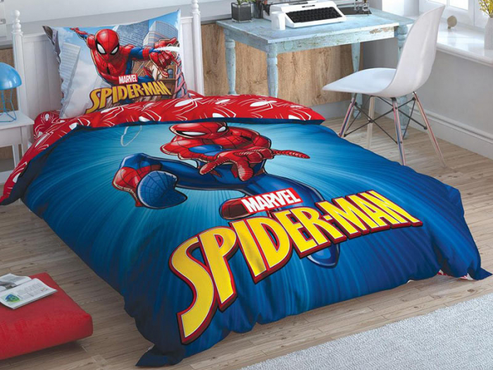 Lenjerie de pat, o persoana, bumbac 100%, TAC, Spiderman Time to Move [0]