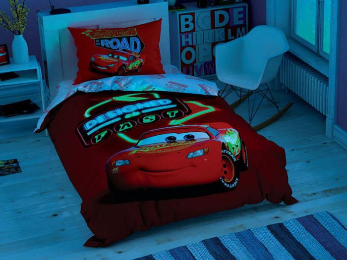 Lenjerie de pat, o persoana, bumbac 100%, TAC, Cars Shiny Road [1]