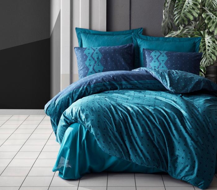 Lenjerie de pat ranforce, două persoane, bumbac 100%, Cotton Box, Amari - Petrol Blue [0]