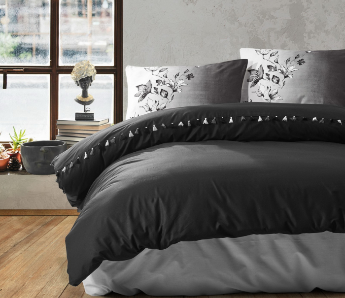 Lenjerie de pat ranforce, două persoane, bumbac 100%, Cotton Box, Daren - Black [0]
