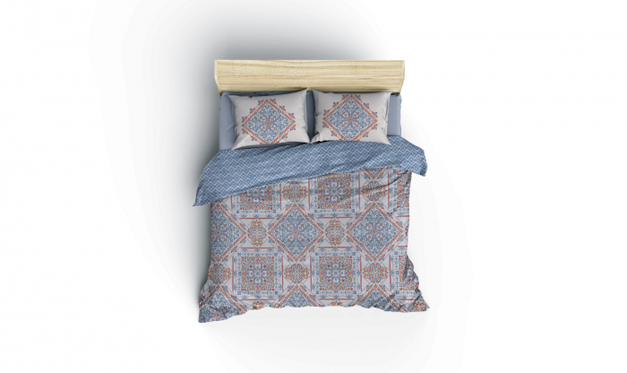 Lenjerie de pat ranforce, două persoane, bumbac 100%, Cotton Box, Grande - Blue [2]