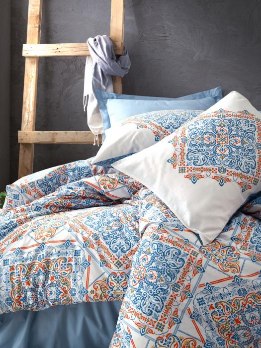 Lenjerie de pat ranforce, două persoane, bumbac 100%, Cotton Box, Grande - Blue [1]