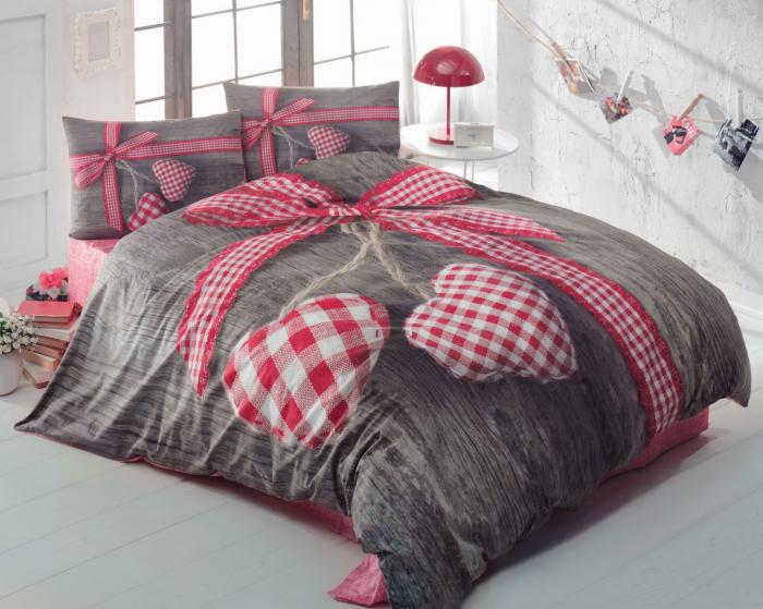 Lenjerie de pat ranforce, două persoane, bumbac 100%, Cotton Box, Lovebox - Red [0]