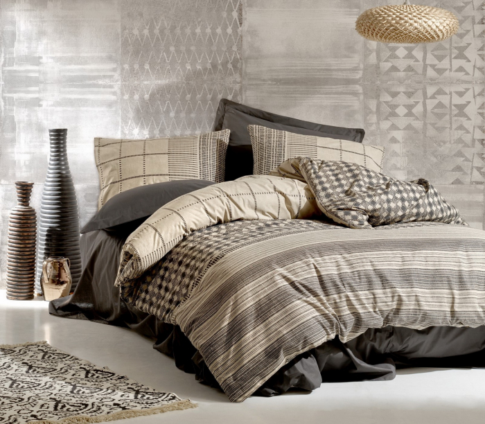 Lenjerie de pat ranforce, două persoane, bumbac 100%, Cotton Box, Rina - Anthracite [0]