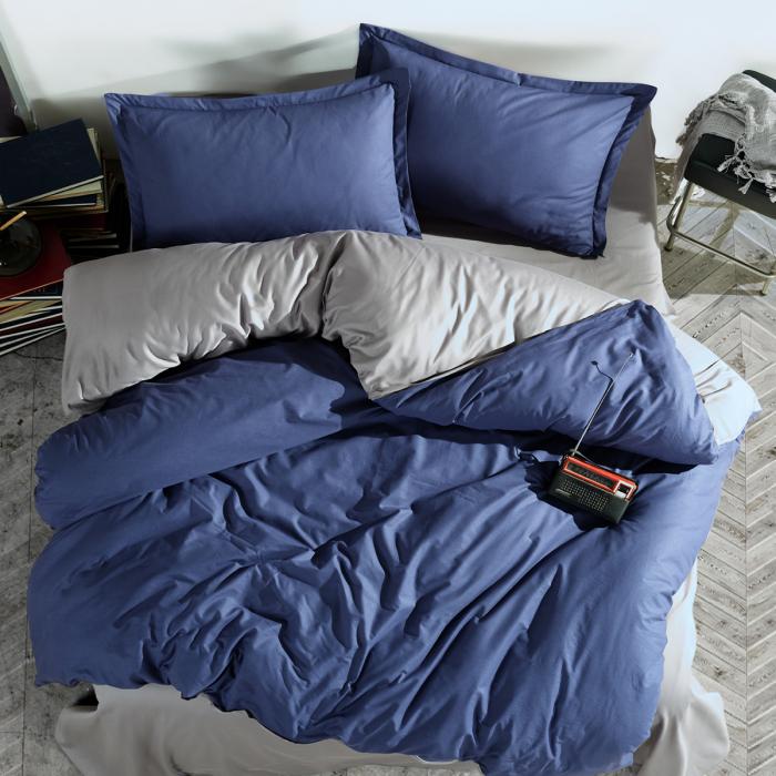 Lenjerie de pat ranforce, două persoane, bumbac 100%, PRESTIGE V2 -blue [0]