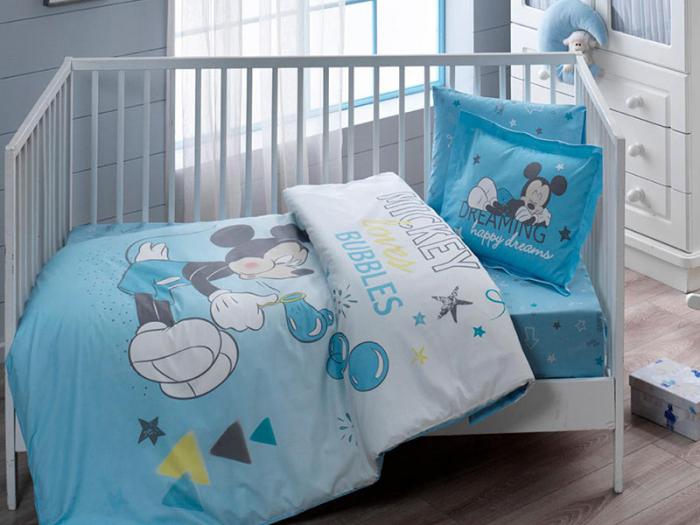 Lenjerie pătuț bebe, bumbac 100%, Tac Disney, Mickey Bubble [0]