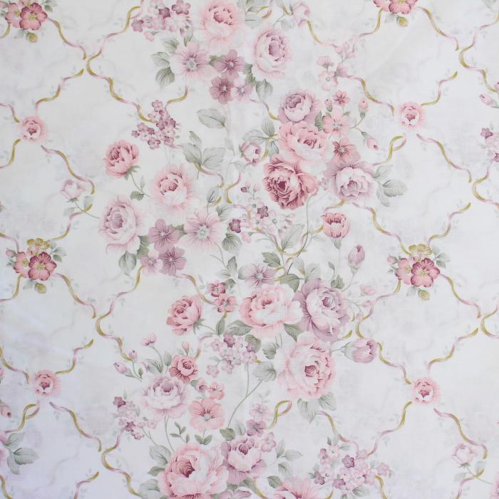 Ranforce alb cu trandafiri roz și lila [1]