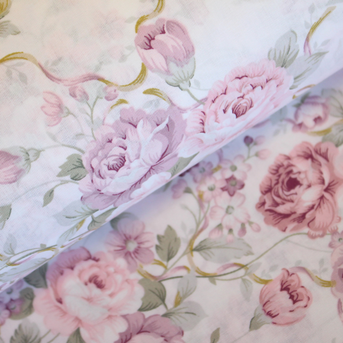 Ranforce alb cu trandafiri roz și lila [0]
