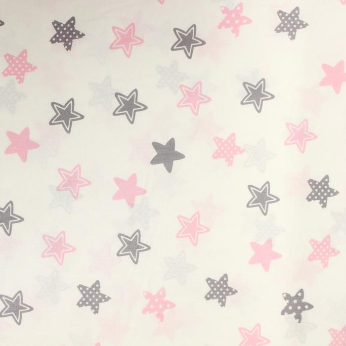 Ranforce alb cu stelute roz si gri [1]