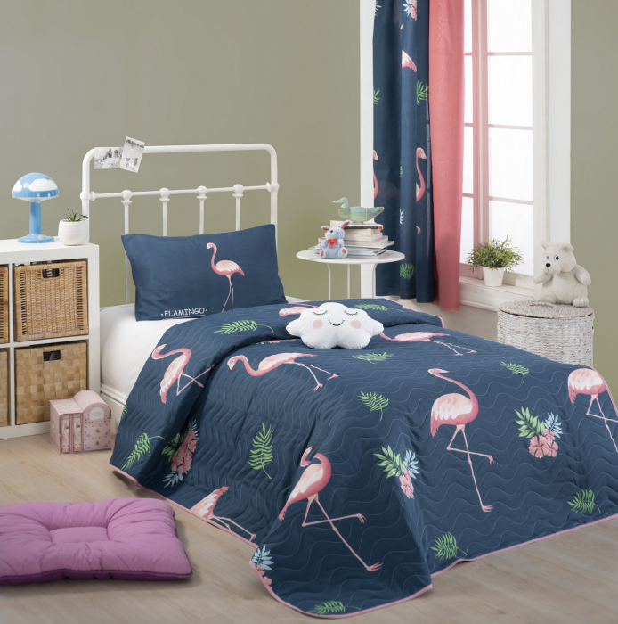 Set cuvertura matlasata 160x220cm, Eponj Home, Flamingo Albastru [0]