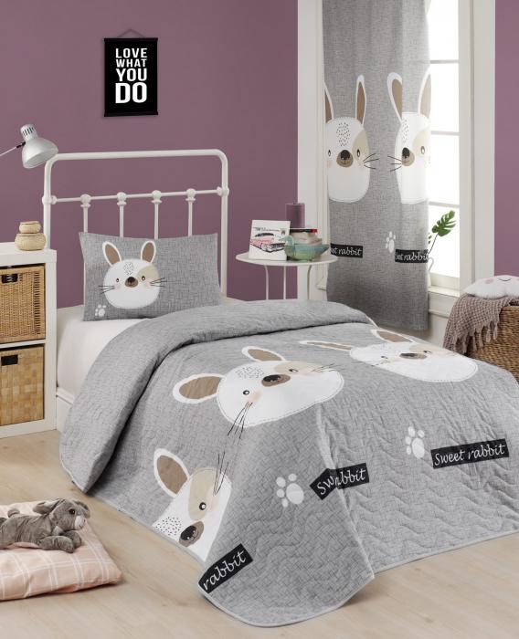Set cuvertura matlasata 160x220cm, Eponj Home, Rabbit Gri [0]