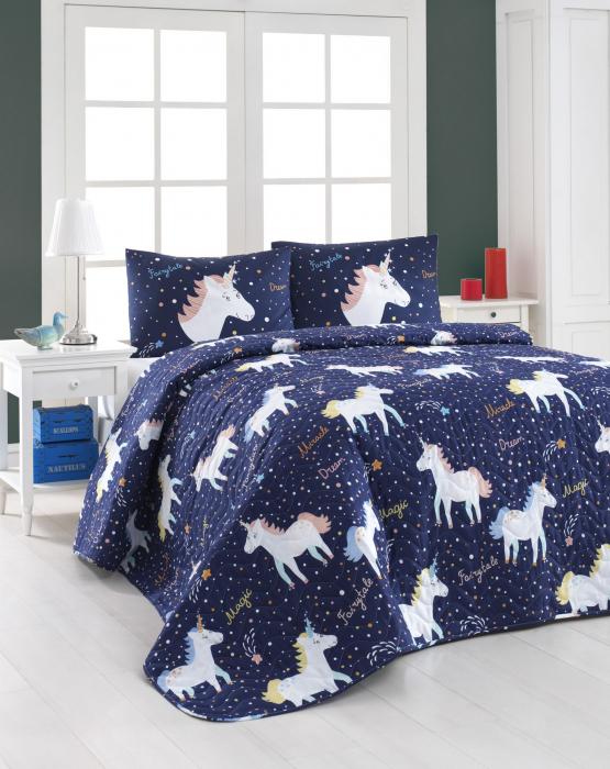 Set cuvertura matlasata 200x220cm, Eponj Home, Magic Unicorn - Albastru [0]