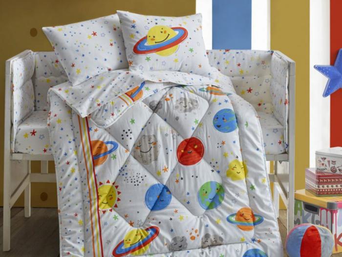 Set pentru pătuț bebe, bumbac 100%, Cotton Box, Planete [0]