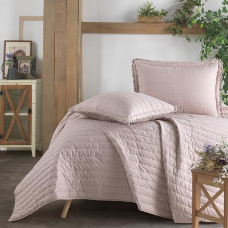 Cuvertură pat Clasy-matlasată PEDRA V3 roz pudra [0]