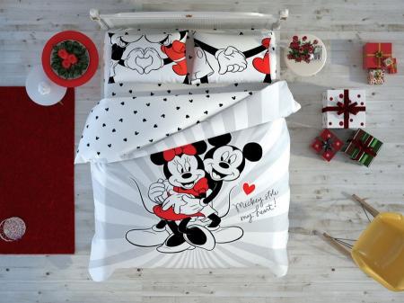 Lenjerie de pat, două persoane, bumbac 100%, TAC, Minnie Mickey Love Day [0]