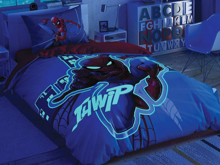 Lenjerie de pat, o persoana, bumbac 100%, TAC, Spiderman Light City [1]