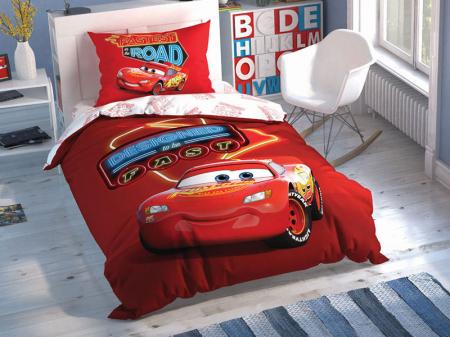 Lenjerie de pat, o persoana, bumbac 100%, TAC, Cars Shiny Road [0]